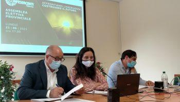 Francesca Costa in video collegamento per l'assemblea elettiva. Da sx Michele Sorbera, Costa e Antonino Bottone